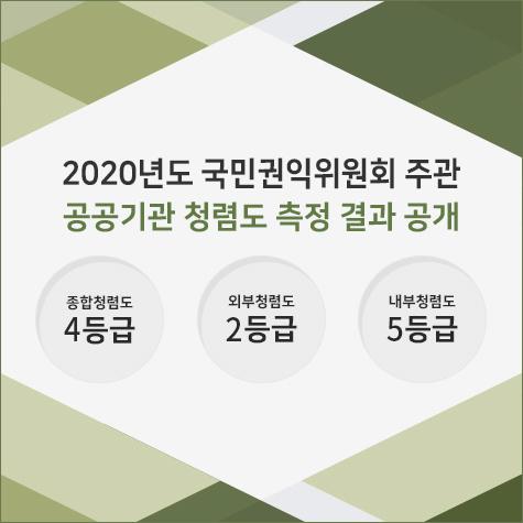 국민권익위원회  2020년도 청렴도 측정 결과 종합청렴도 4등급   외부청렴도 2등급   내부청렴도 5등급